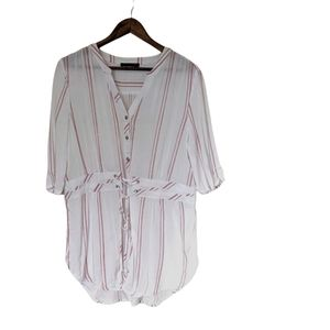 Black Tape Pink and White Striped Blouse size L